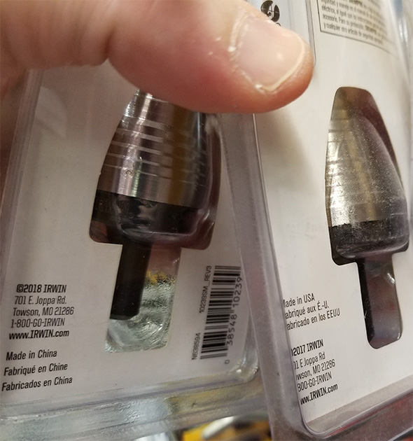 Irwin UniBit Step Drill Bits Made in USA and China
