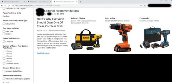 Amazon Cordless Drill Editorial Recommendations July 2019 Snippet