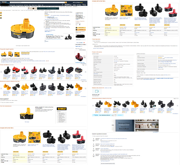 Dewalt Battery Listing on Amazon Screencapture