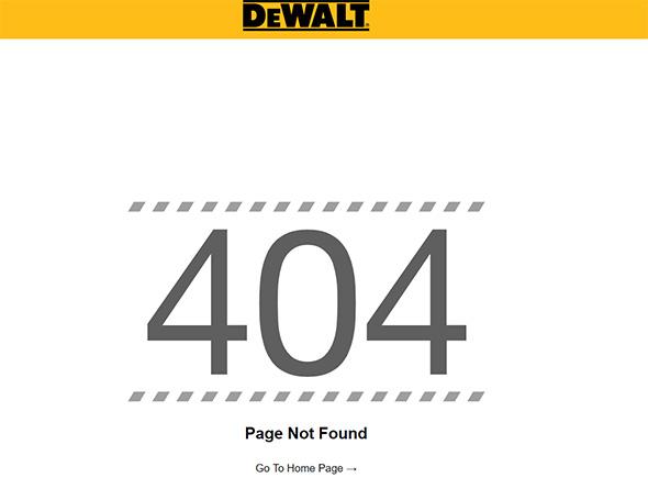 Dewalt Cordless Outdoor Power Equipment Website 404 Error