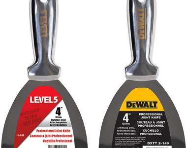 Level 5 and Dewalt One-Piece Stainless Steel Drywall Knives