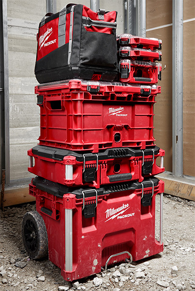 Milwaukee Packout Crate in Middle of a Tool Box Stack