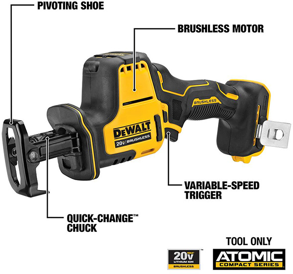 Dewalt Atomic DCS369B One-Handed Cordless Reciprocating Saw Features