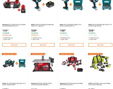 Home Depot Cordless Power Tools Deals of the Day Makita Milwaukee Ryobi 102519 Page 0