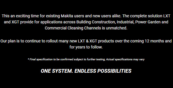Makita XGT LXT One System Endless Possibilities Marketing
