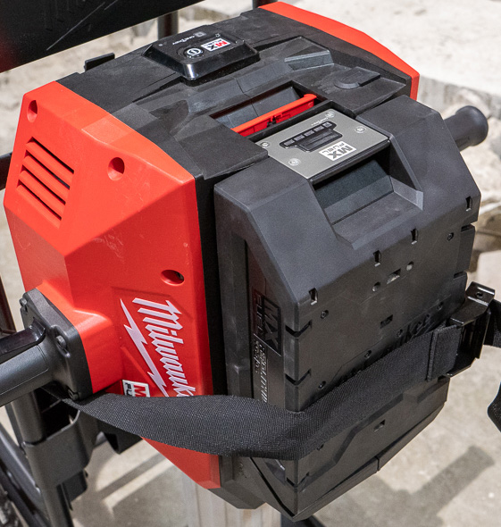 Milwaukee MX Fuel Cordless Concrete Breaker Hammer Battery Closeup