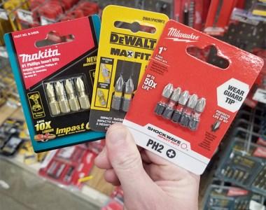 Milwaukee Makita Dewalt Screwdriver Bits at Home Depot