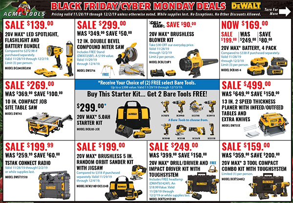 Acme Tools Black Friday 2019 Sales Flyer Page 1