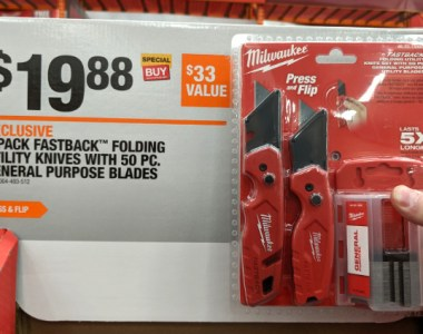 Home Depot 2019 Holiday Promotion 2 Pack Milwaukee Fastback Knives