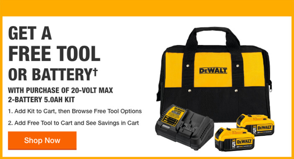 Home Depot Free Power Tools 2019 Promotion Dewalt One Free Tool