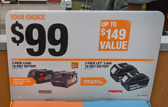 Home Depot Pre Black Friday Special Buys Makita and Ridgid Batteries