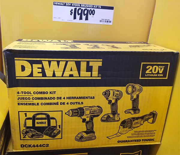 Home Depot Pro Black Friday 2019 Dewalt 4-Tool Cordless Power Tool Combo Kit Deal