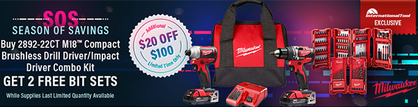 Milwaukee Pre-Black Friday M18 Brushless Drill Impact Driver Combo Kit Bundle International Tool Banner