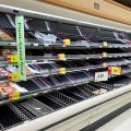 Empty Supermarket Meat Section Due to Coronavirus Panic Buying 3-12-20