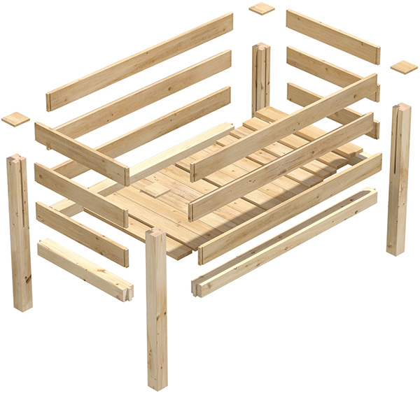 Greenes Cedar Elevated Planter Box Construction Diagram