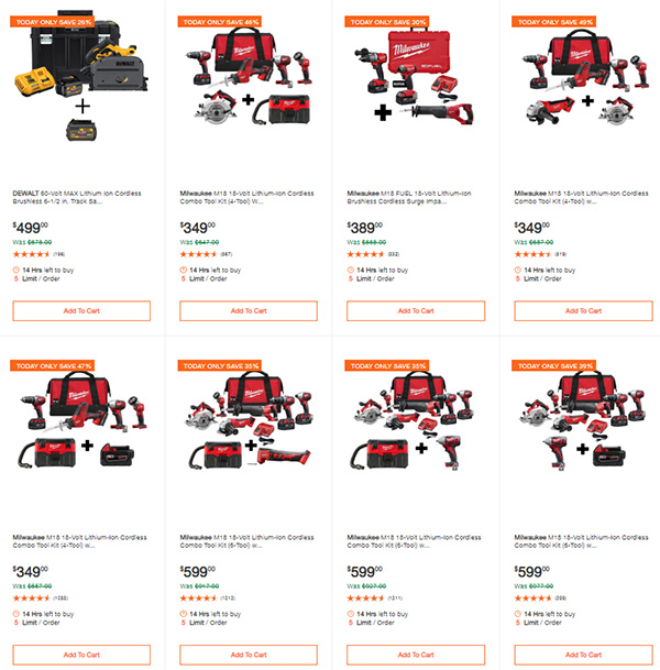 Home Depot Milwaukee Dewalt Tool Deals of the Day 6-8-20 Page 1