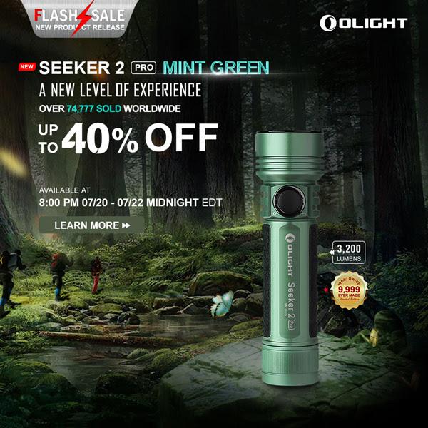 Olight Flashlight Flash Sale 7-20-20 Seeker 2 Pro Mint Green