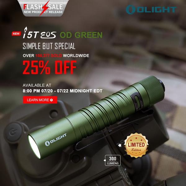Olight Flashlight Flash Sale 7-20-20 i5T EOS OD Green