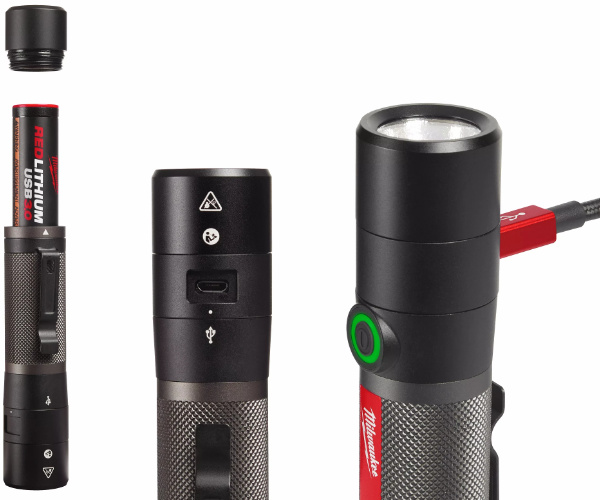 Milwaukee 2160-21 USB Rechargeable 800L Compact Flashlight Battery and USB Charging