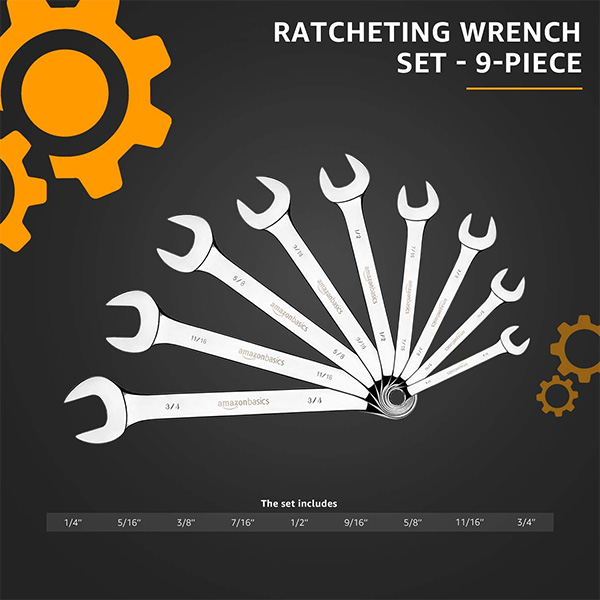 Amazon Basics Combination Wrench Set Fanned Out