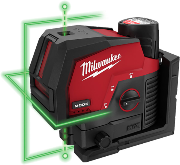 Milwaukee M12 Cross-Line and Points Laser Beams