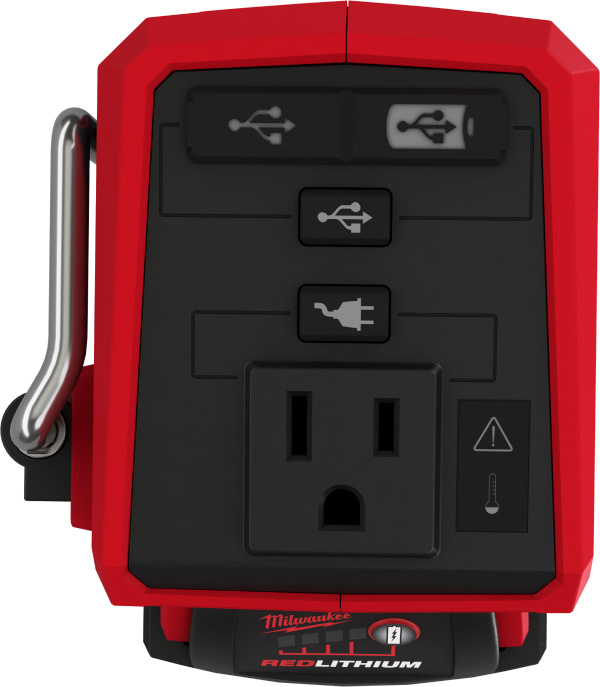 Milwaukee M18 Top-Off 2846-20 USB Power Adapter Top Controls and Ports