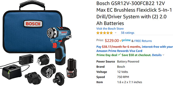Bosch 12V Brushless FlexiClick Deal Amazon Prime Day 2020