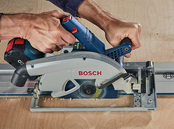 Bosch BitTurbo 18V Cordless Circular Saw GKS18V-25GCN on Guide Rail Track