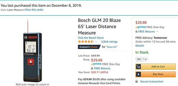 Bosch GLM20 Laser Distance Measuring Tool Deal