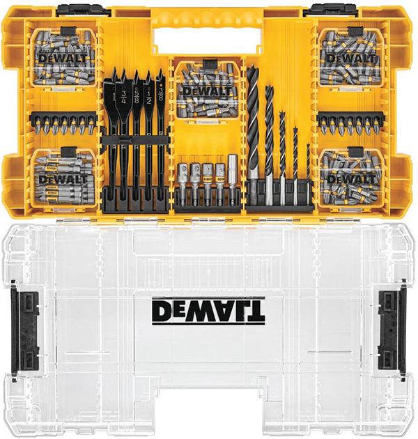 Dewalt MaxFit 160pc Screwdriver Bit Set and Large ToughCase Organizer Open Clear Lid