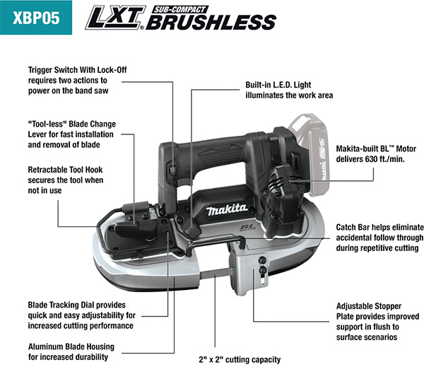 Makita XBP05R1B Cordless Band Saw Features