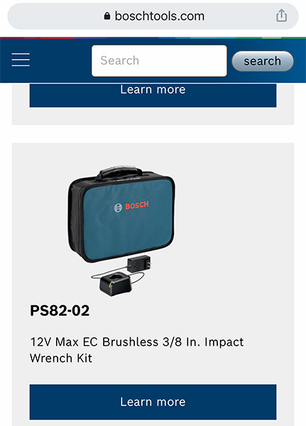Bosch PS82 Invisible Impact Wrench Listing
