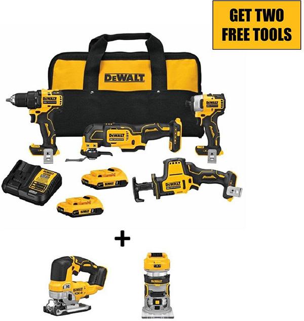 Dewalt 20V Max Atomic Cordless Power Tool Kit with Brushless Bonus Tools