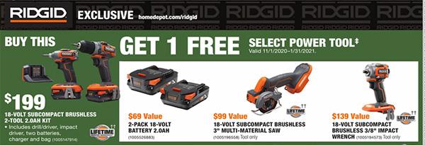 Home Depot Holiday 2020 Free Ridgid Bonus Tools Offer