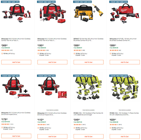 Home Depot Milwaukee Ryobi Tool Deals of the Day 12-7-2020 Page 1