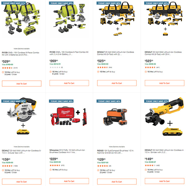 Home Depot Milwaukee Ryobi Tool Deals of the Day 12-7-2020 Page 2