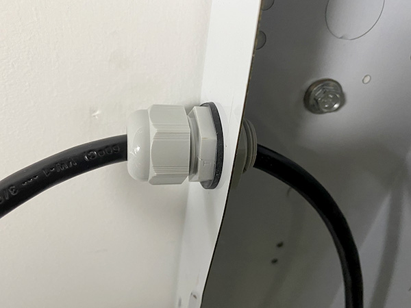 Ceiling-Mounted LED Worklight Wiring Cable Gland Installed Closeup