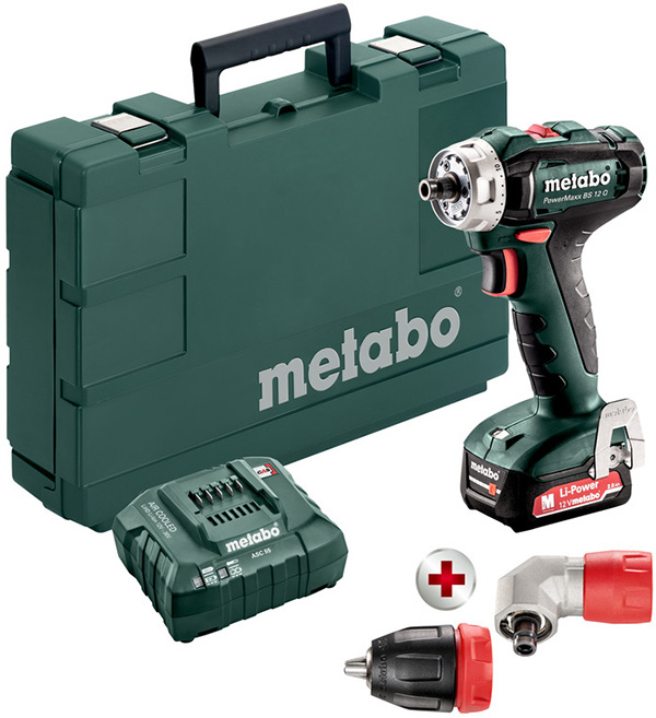 Metabo 12V Brushless Screwdriver Drill kit with Right Angle Attachment