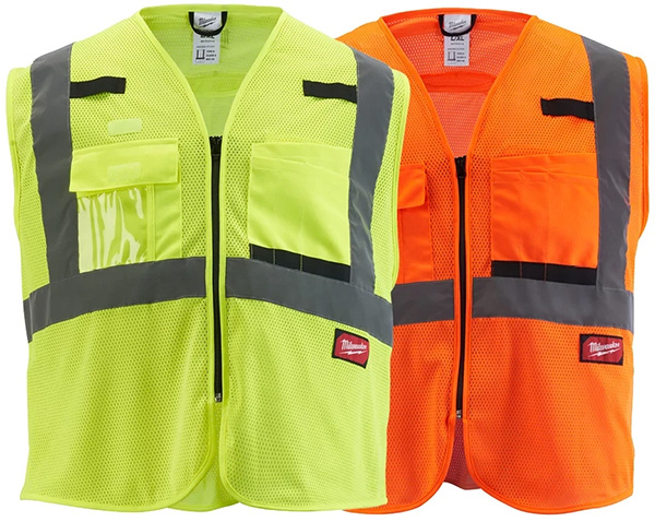 Milwaukee Tool High Visibility Yellow and Orange Class 2 Mesh Safety Vests