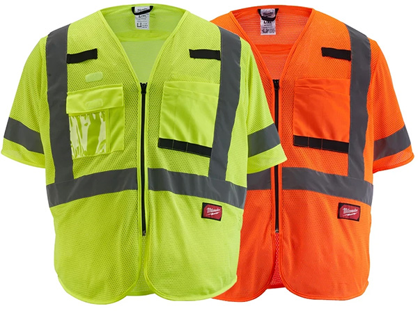 Milwaukee Tool High Visibility Yellow and Orange Class 3 Mesh Safety Vests