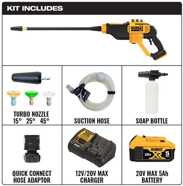 Dewalt DCPW550P1 20V Cordless Power Cleaner Kit Contents