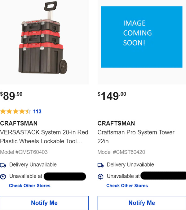 Lowes Listing for Craftsman Pro System Tower Tool Box