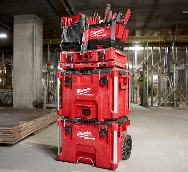 Milwaukee Packout XL Tool Box 48-22-8429 Stacked on Rolling Tool Box