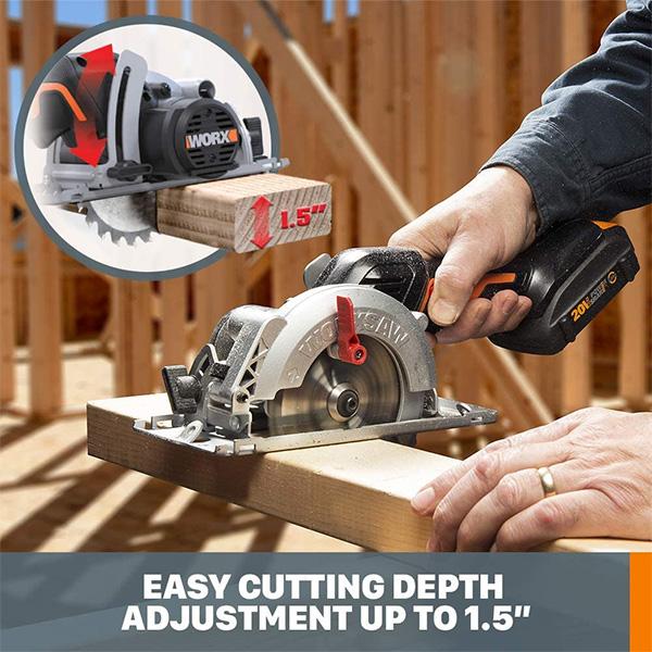 Worx 20V WX531L Cordless Circular Saw Cutting Depth