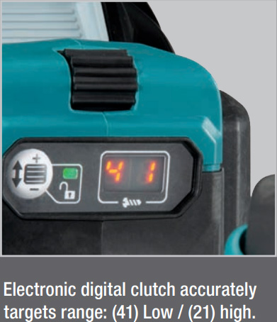 Makita 40V XGT Brushless Hammer Drill Digital Clutch Feature
