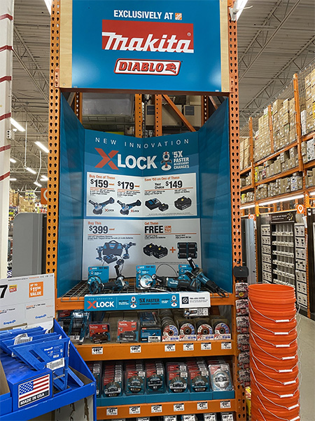 Makita X-Lock Angle Grinder Display at Home Depot
