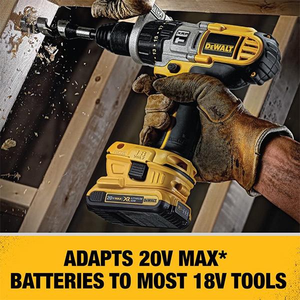 Dewalt 18V to 20V Max Cordless Battery Adapter DCA1820 with 18V Drill