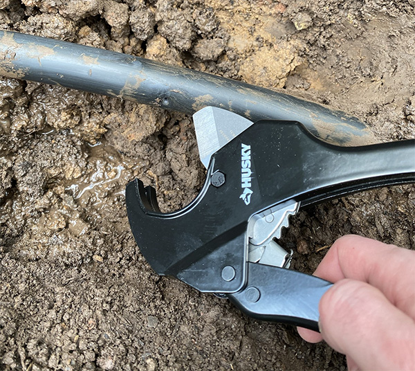 Husky Ratcheting PVC Cutter with Irrigation Pipe Repair