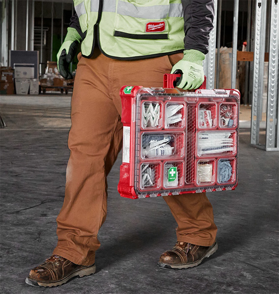 Milwaukee Packout First Aid Kit Large Organizer Carried by Worker
