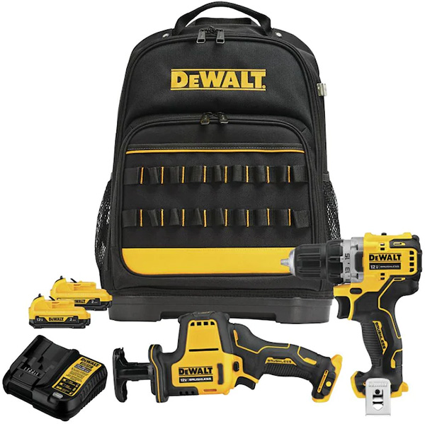 Dewalt 12V Xtreme Cordless Drill and Recipricating Saw and Backpack Kit Bundle
